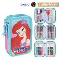 FILLED PENCIL CASE TRIPLE GIOTTO PREMIUM PRINCESS LA SIRENITA