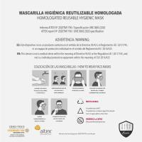 MASCARILLA HIGIÉNICA REUTILIZABLE HOMOLOGADA WONDER WOMAN 18