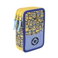FILLED PENCIL CASE TRIPLE MINIONS