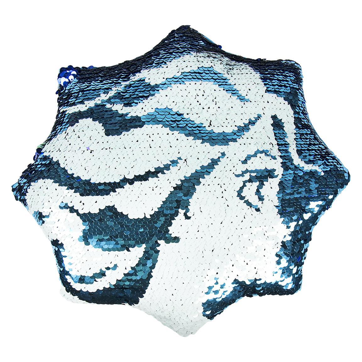CRD - Cojín de lentejuelas azules y blancas