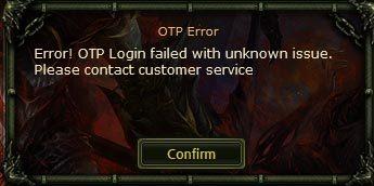 knight online error otp login failed