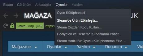 Steam oyun kodu kullanma 1