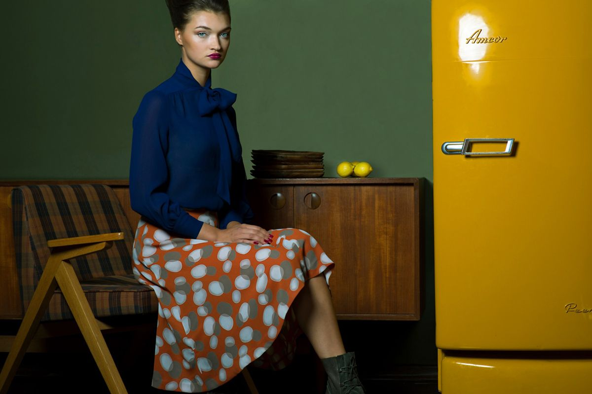 Girl with Lemons in Vintage Hotel