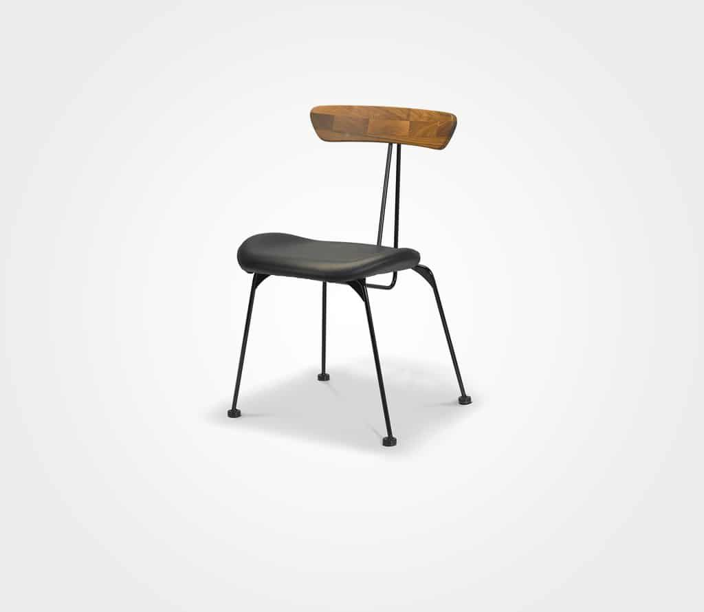כסא Skinny – שחור בשילוב גב עץ
