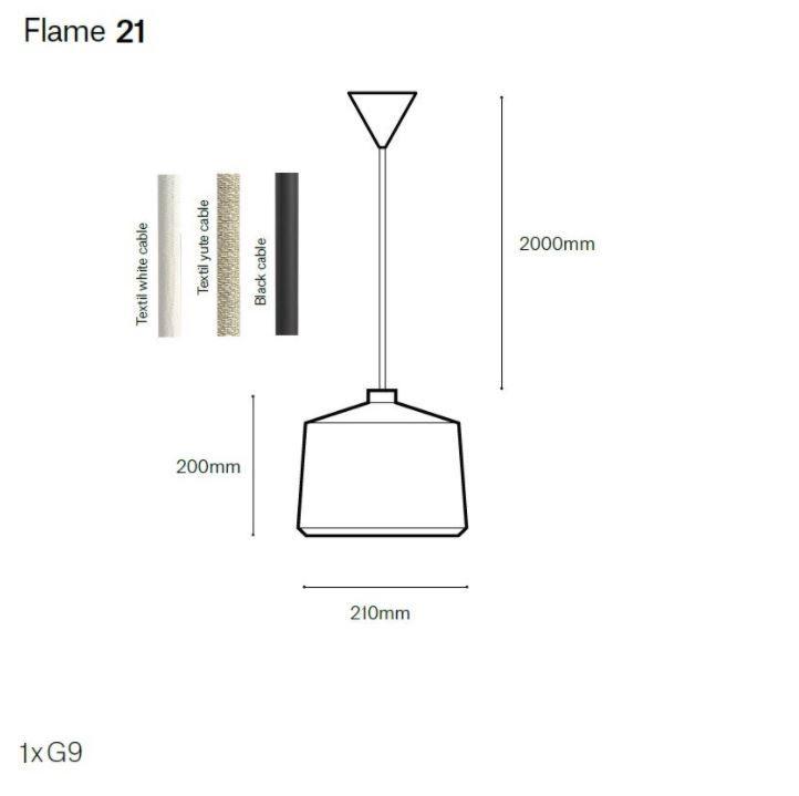 גוף תאורה תלוי FLAME בצבע אפור עם כבל לבן