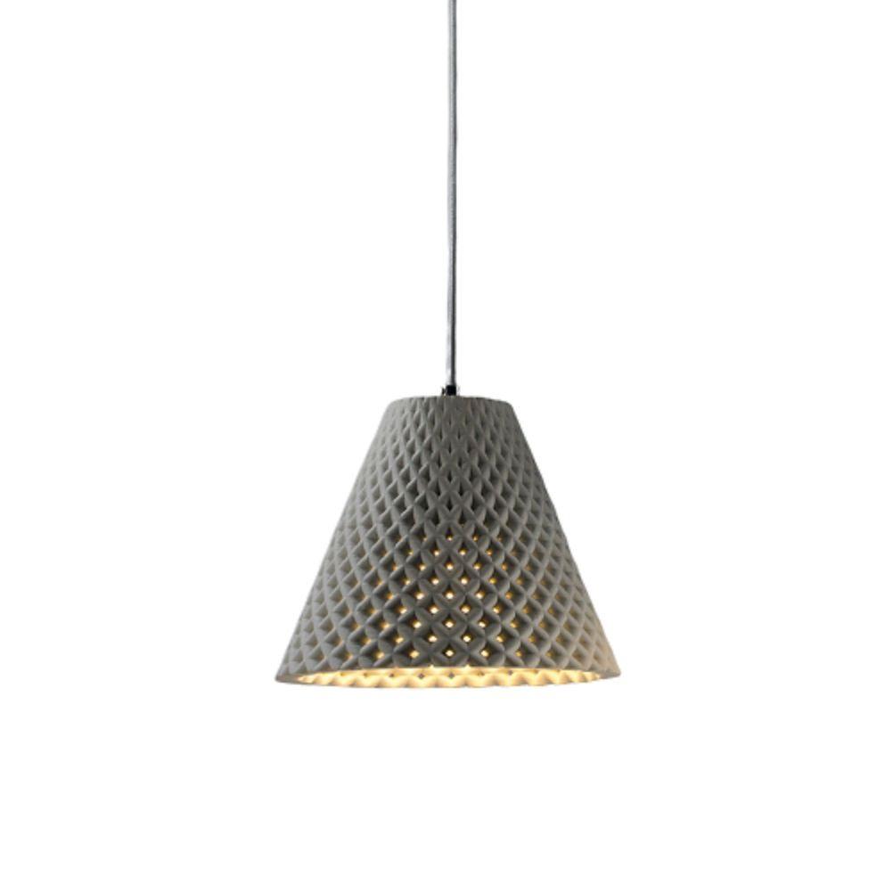 HELIA מנורה תלויה מבטון בצבע אפור בהיר בהשראת פרח החמניה.