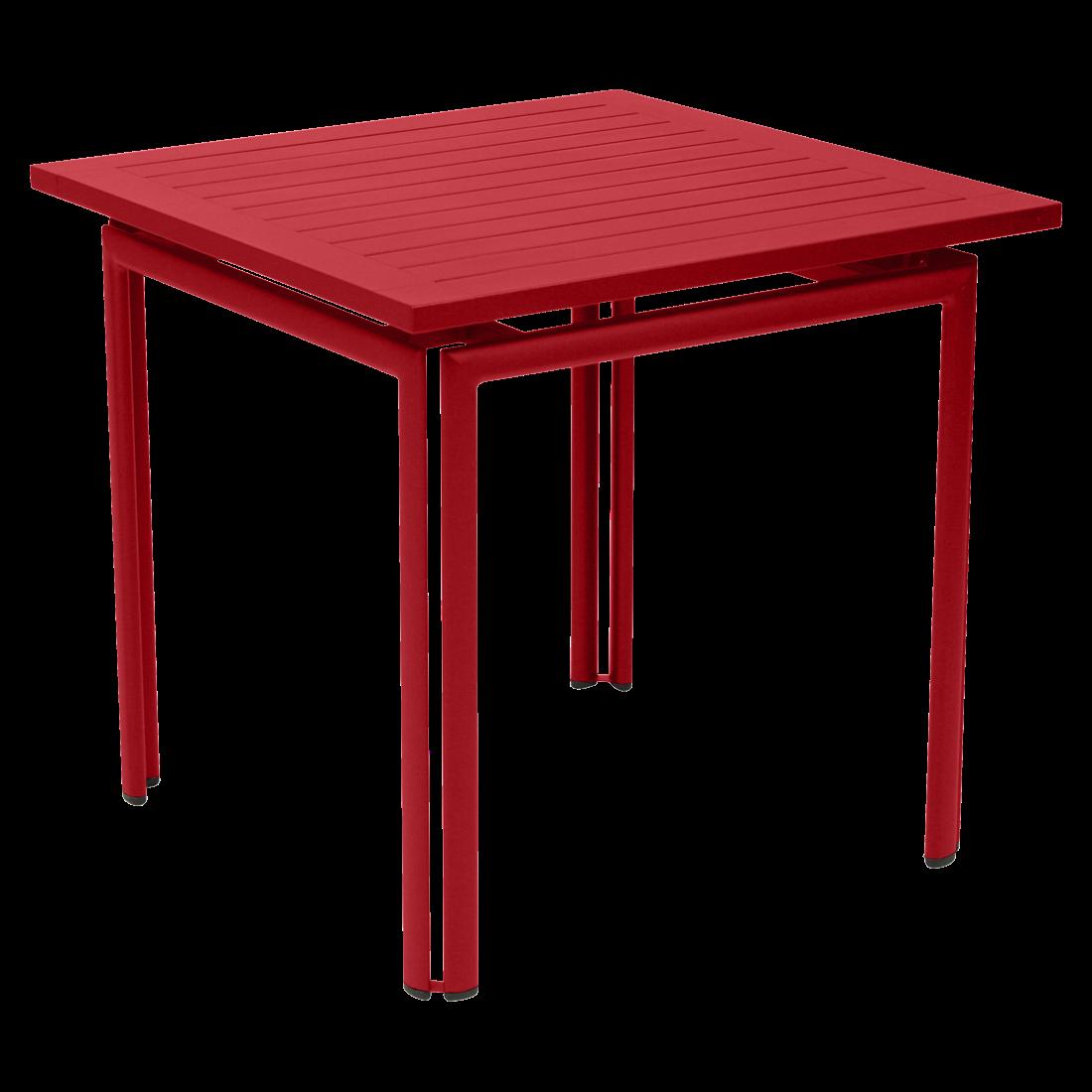 שולחן אוכל ריבועי לגינה בצבע אדום COQUELICOT
