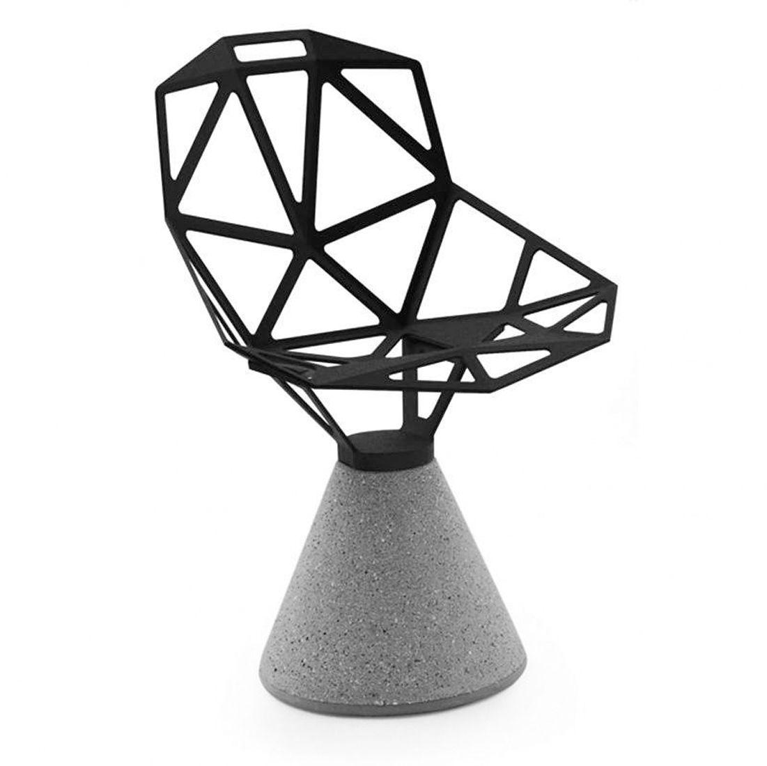 כסא One רגל בטון מושב שחור