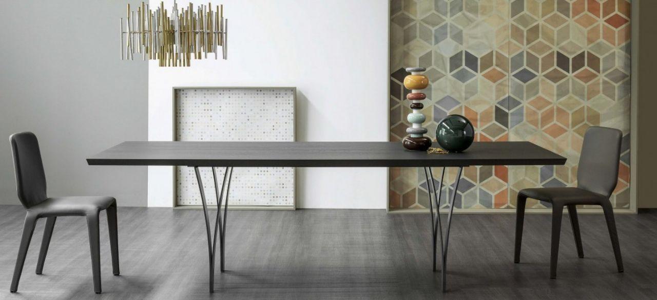 שולחן אוכל מלבני ארבע רגליים יחודיות פלטת אלון מושחר
