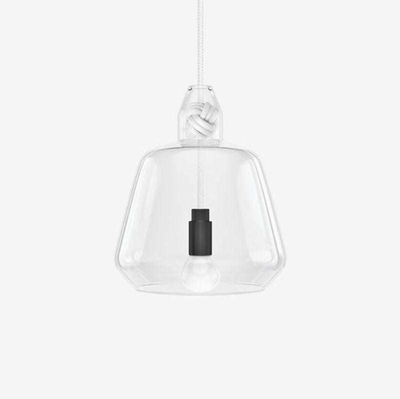 תאורה תלויה קשר וזכוכית בצבע לבן