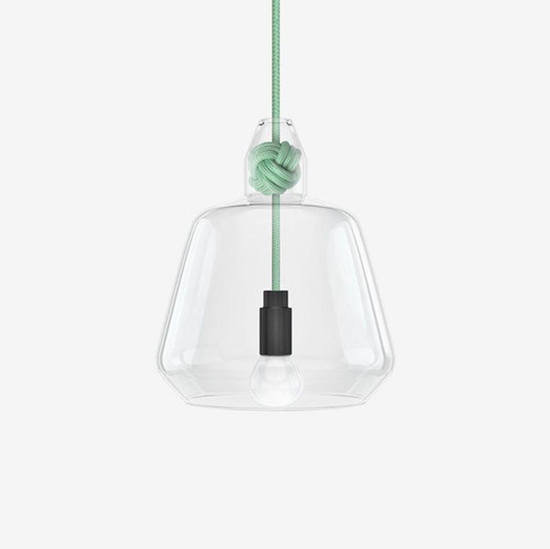 תאורה תלויה קשר וזכוכית בצבע ירוק
