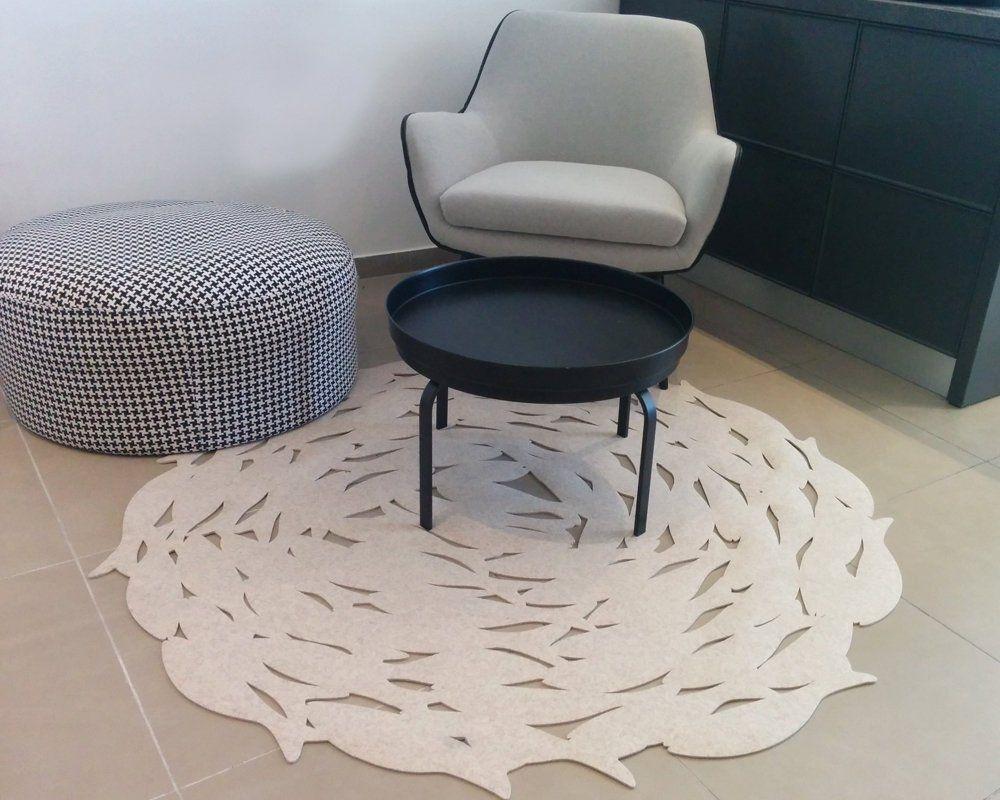 שטיח לבד עגול FISH בצבע בז'