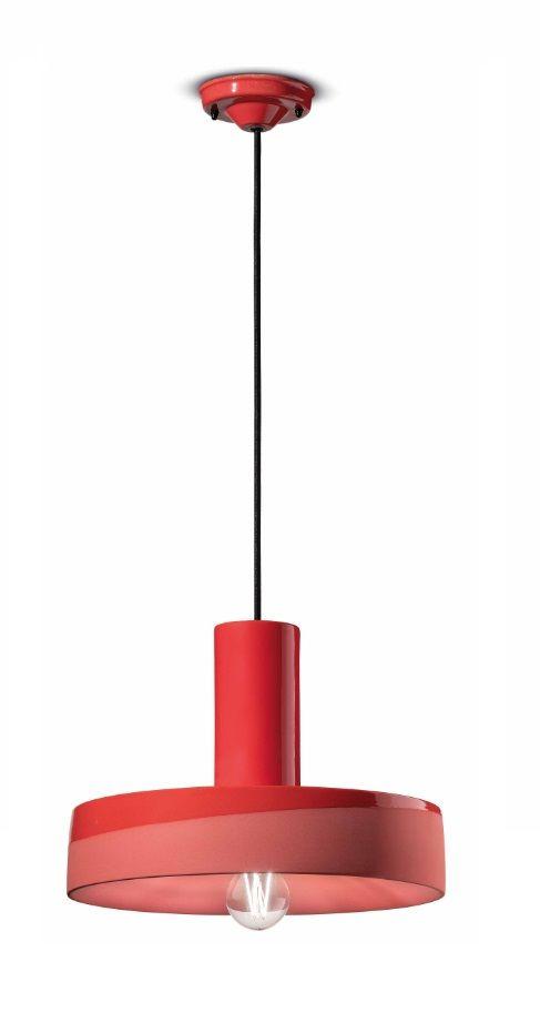 גוף תאורה קרמי בצבע אדום