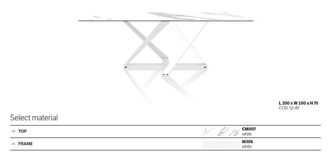 שולחן אוכל מילניום גימור שיש לבן רגל לבנה