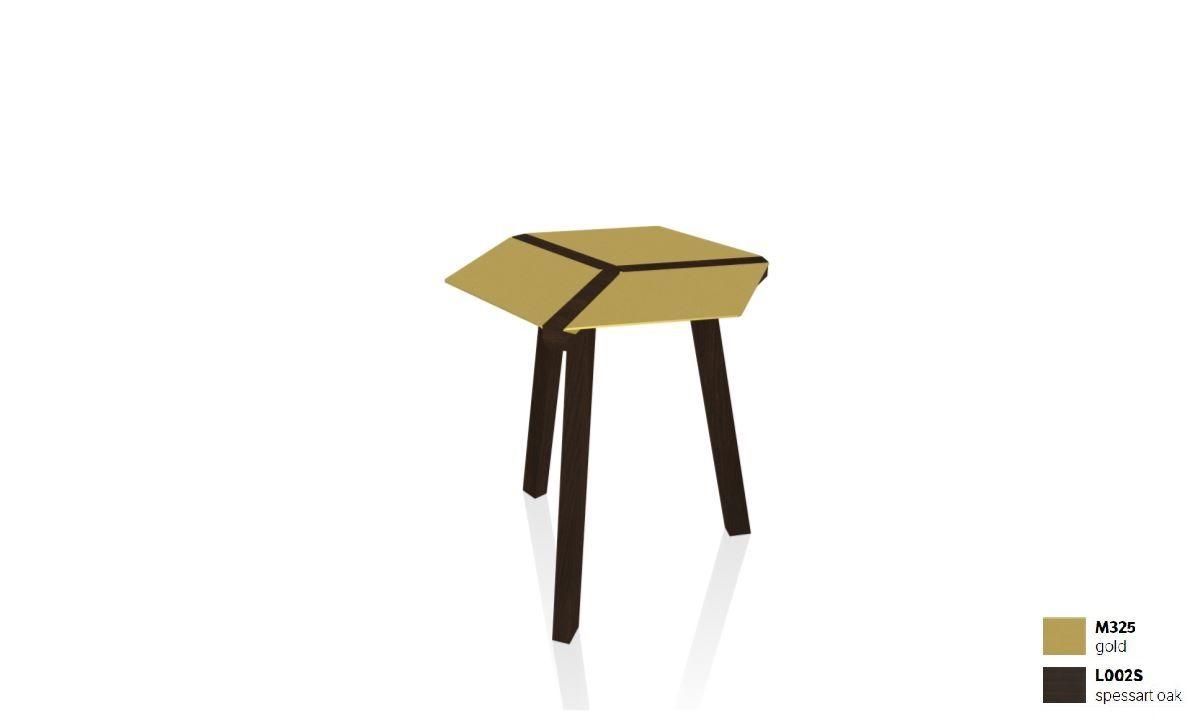 שולחן צד בשילוב עץ + זהב ESA