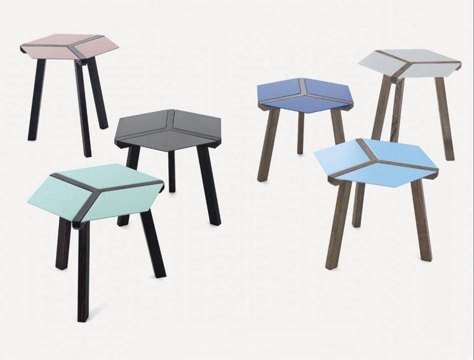 שולחן צד בשילוב עץ +כחול ESA