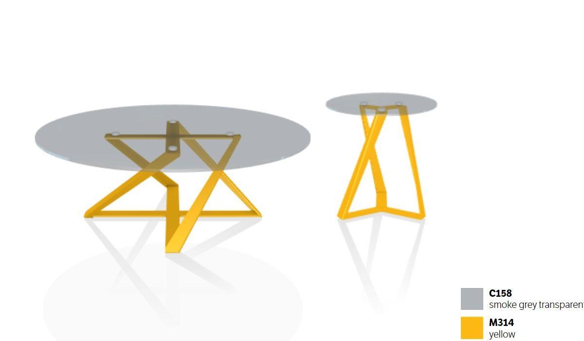 MILLENNIUM COFFEE גימור זכוכית רגל בצבע צהוב