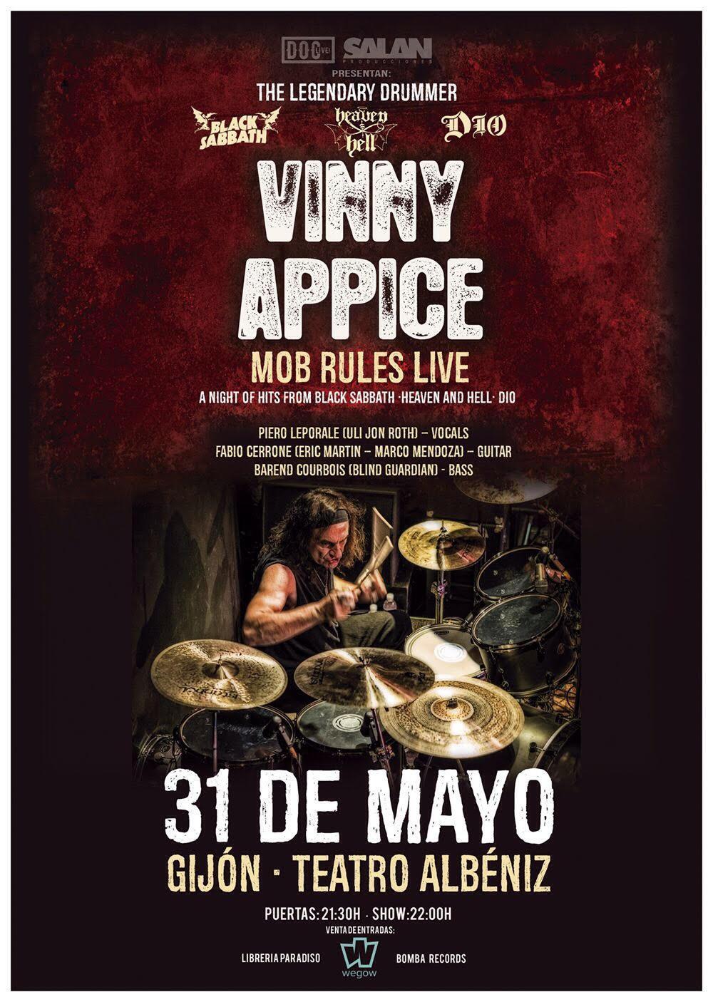 Concierto de Vinny Appice en Gijón. Comprar Entradas.