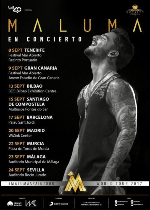 Cartel de Concierto de Maluma en Barcelona