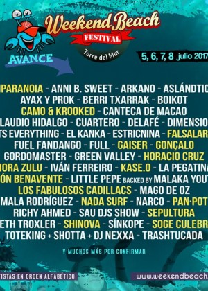 Cartel de Weekend Beach Festival 2017