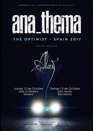 Cartel en baja resolución del Concierto de AnaThema en Barcelona