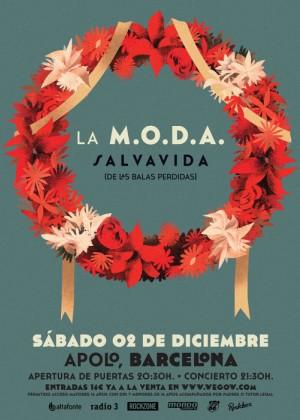 Cartel en baja resolución del Concierto de La M.O.D.A. en Barcelona