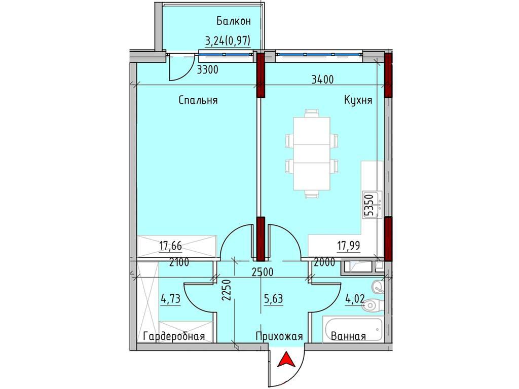1-комнатная квартира, 52.70 м2, 62713 у.е.