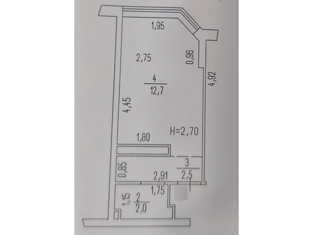 1-комнатная квартира, 17.00 м2, 18500 у.е.