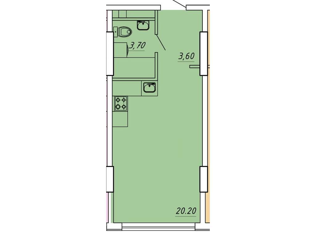 1-комнатная квартира, 25.89 м2, 27000 у.е.