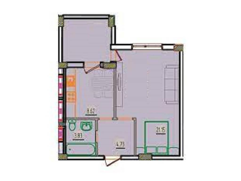 1-комнатная квартира, 37.39 м2, 24000 у.е.