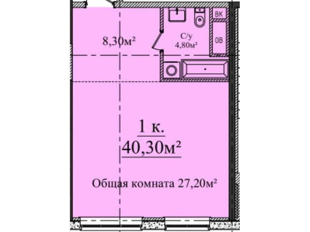 1-комнатная квартира, 40.30 м2, 45000 у.е.