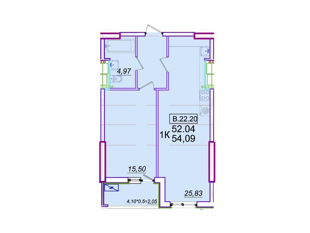 1-комнатная квартира, 54.09 м2, 51926 у.е.