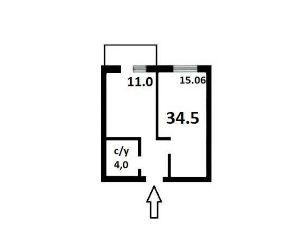 1-комнатная квартира, 34.50 м2, 31500 у.е.