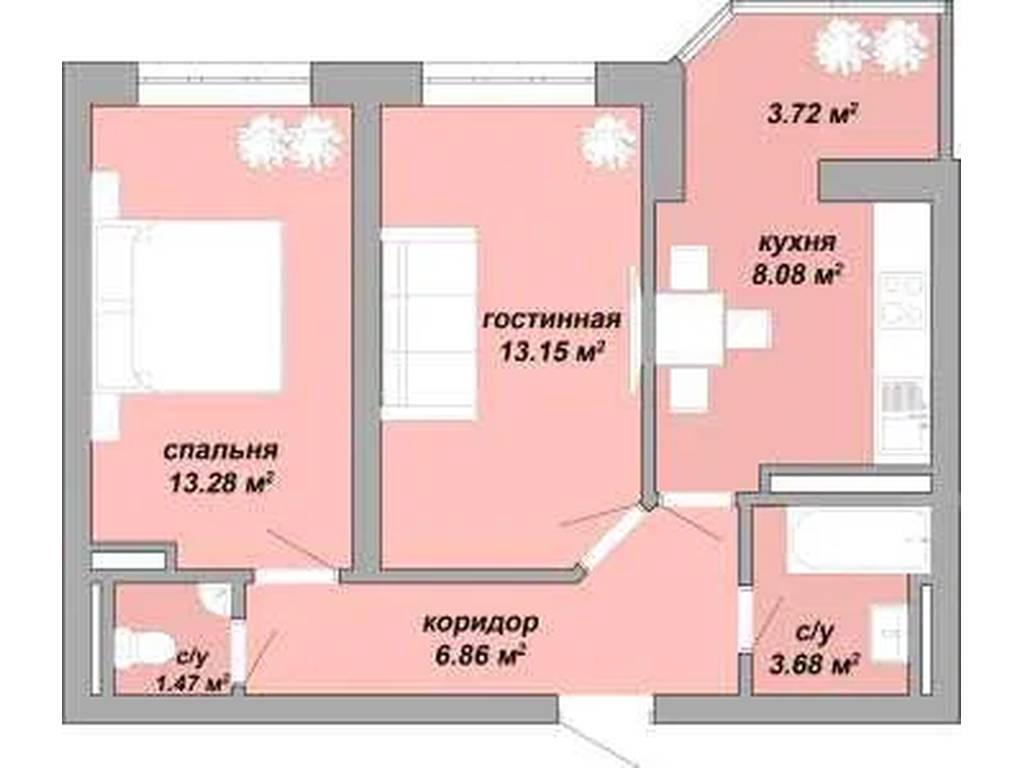 2-комнатная квартира, 54.80 м2, 34000 у.е.