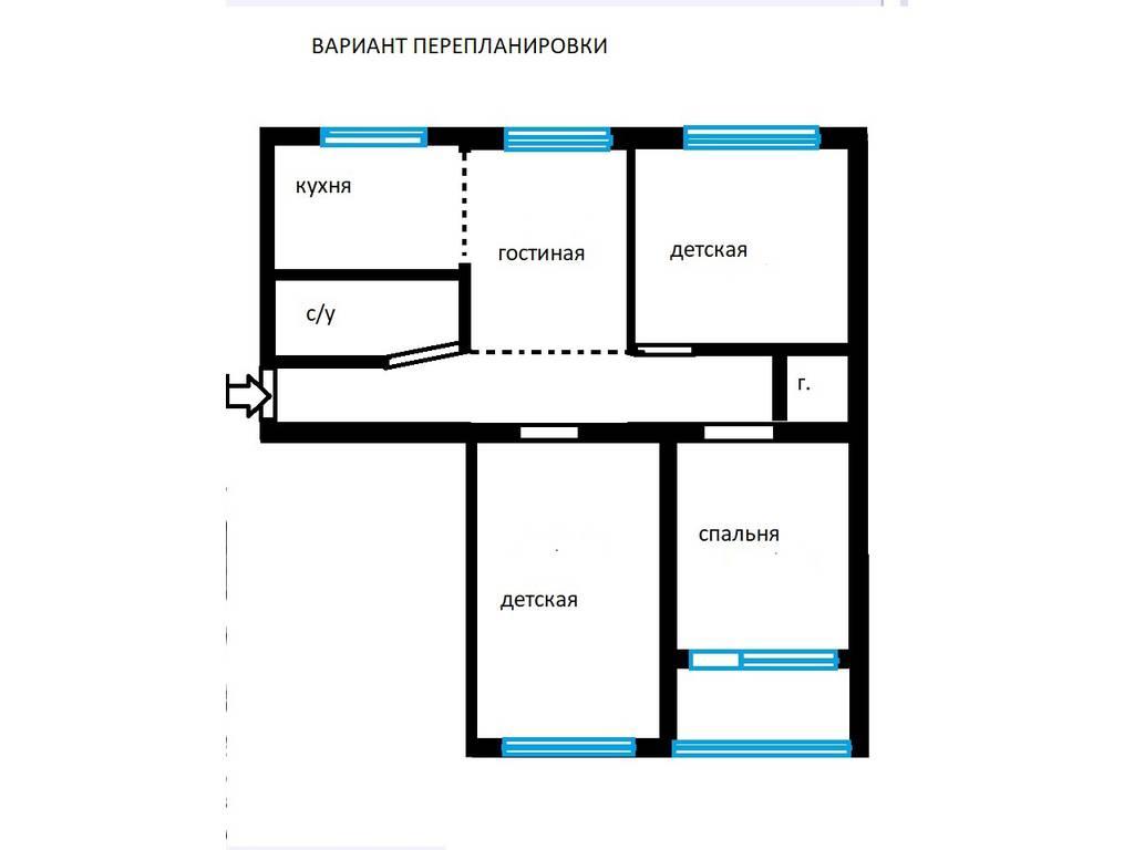 4-комнатная квартира, 70.05 м2, 43000 у.е.
