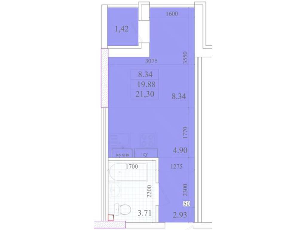 1-комнатная квартира, 21.30 м2, 15700 у.е.