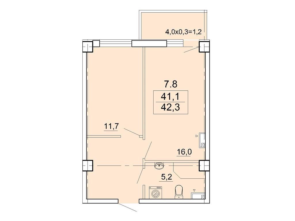 1-комнатная квартира, 42.00 м2, 58800 у.е.