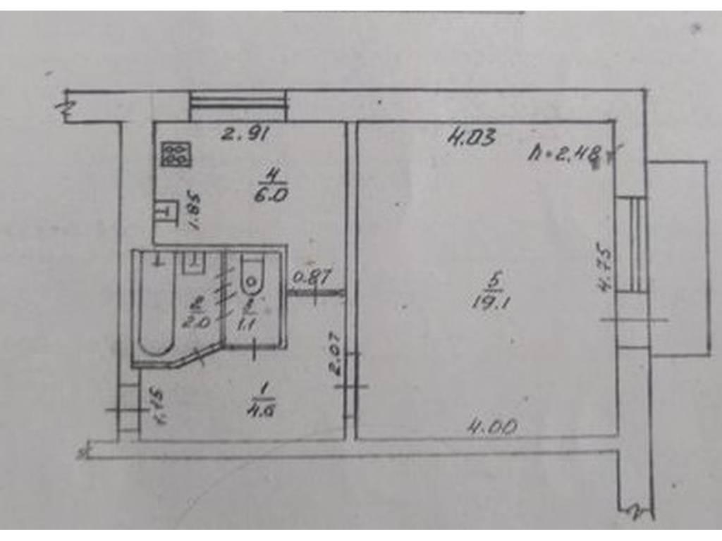 1-комнатная квартира, 34.00 м2, 30900 у.е.
