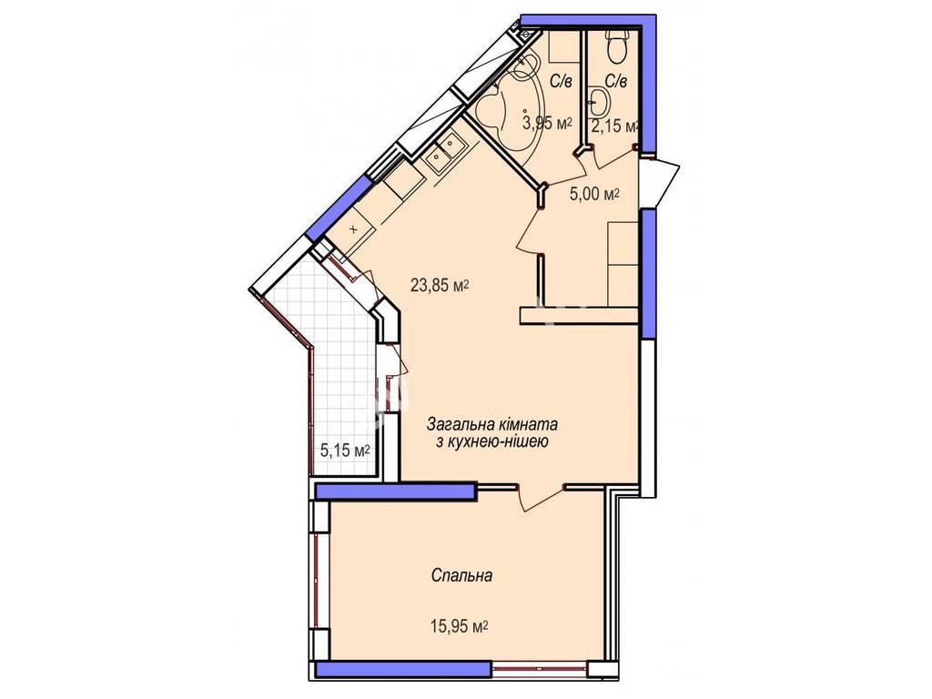 2-комнатная квартира, 53.55 м2, 39090 у.е.
