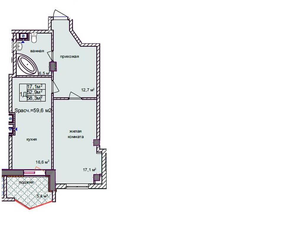1-комнатная квартира, 57.00 м2, 57500 у.е.