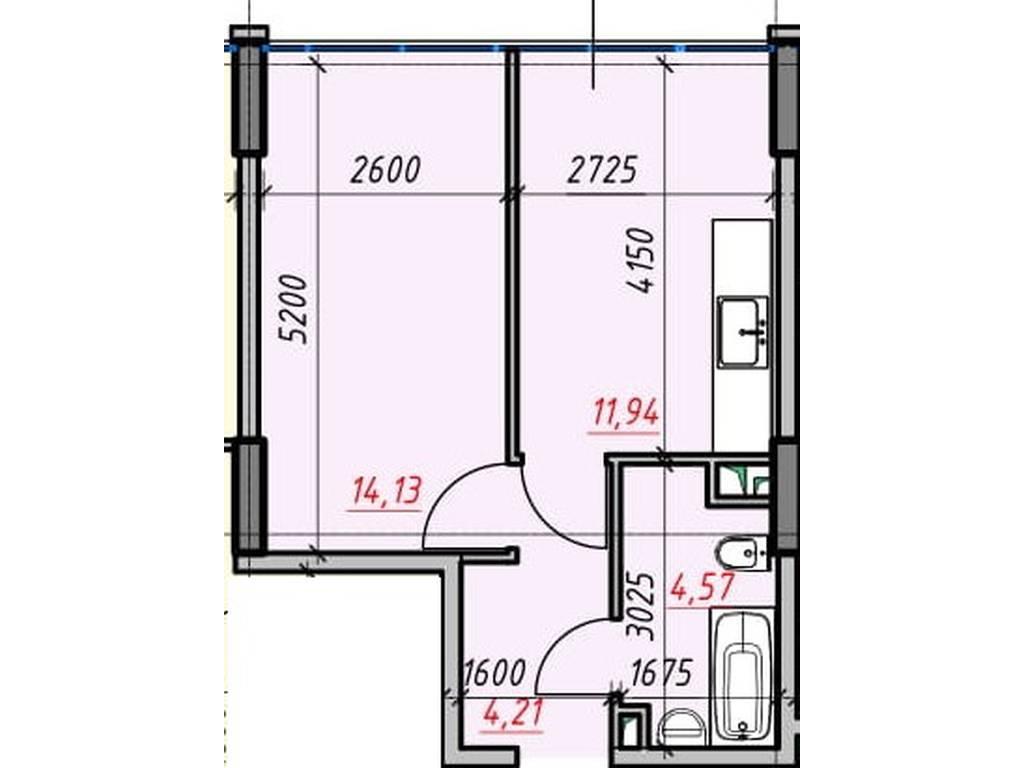 1-комнатная квартира, 34.85 м2, 29623 у.е.