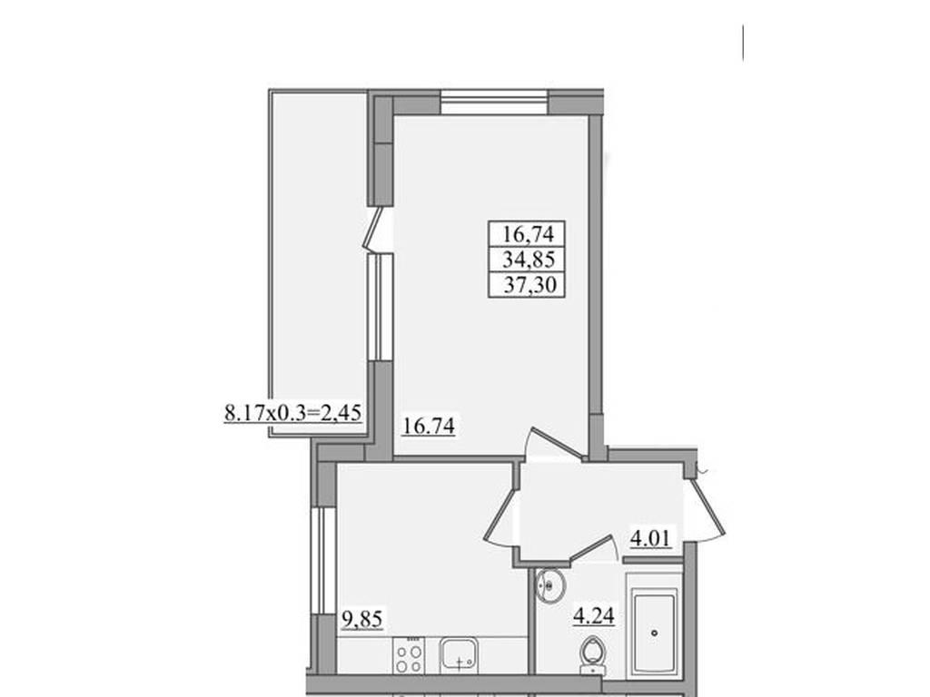 1-комнатная квартира, 37.30 м2, 47500 у.е.