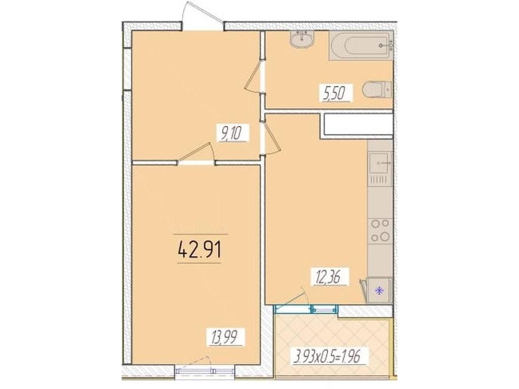 1-комнатная квартира, 42.91 м2, 38061 у.е.