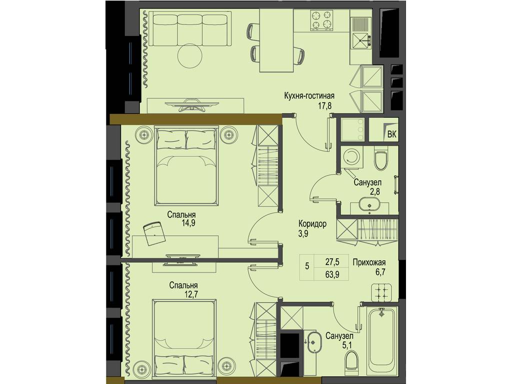 2-комнатная квартира, 63.90 м2, 83070 у.е.