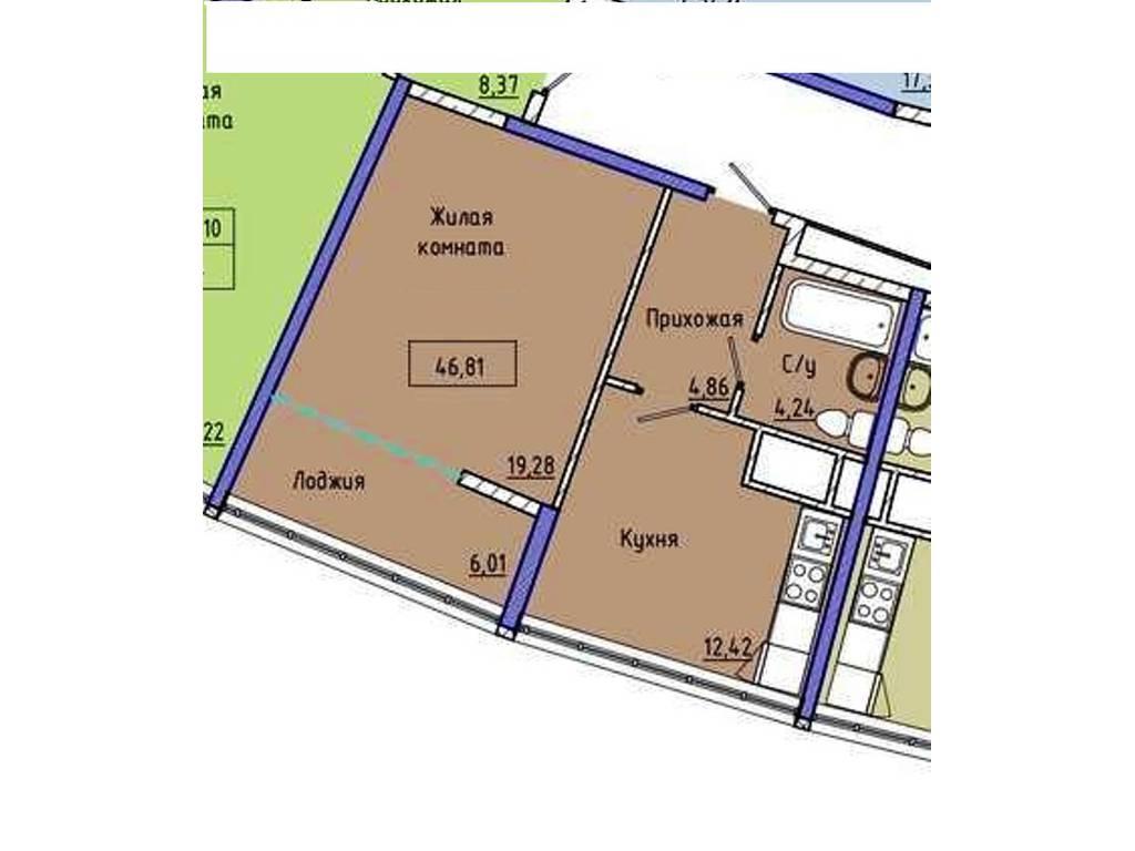1-комнатная квартира, 47.00 м2, 51490 у.е.