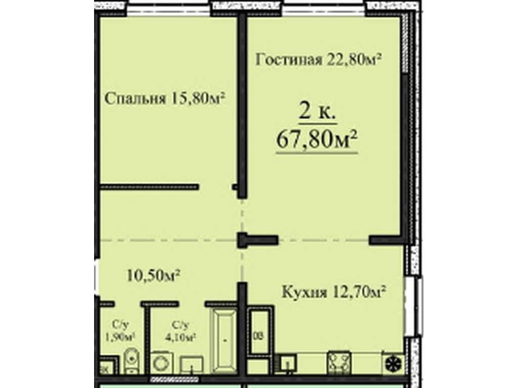 2-комнатная квартира, 67.80 м2, 78000 у.е.