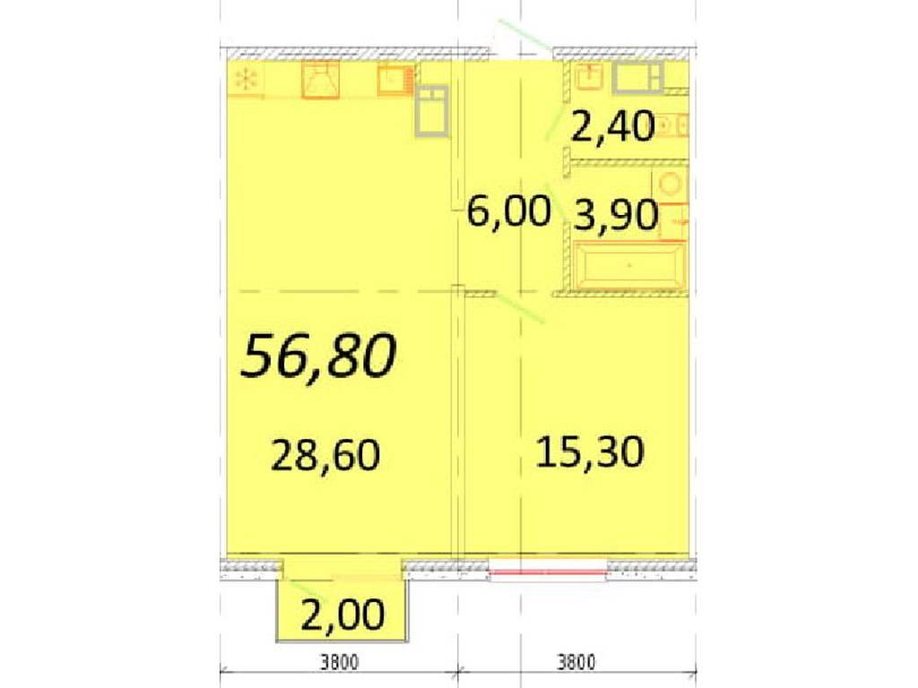 1-комнатная квартира, 56.80 м2, 54900 у.е.