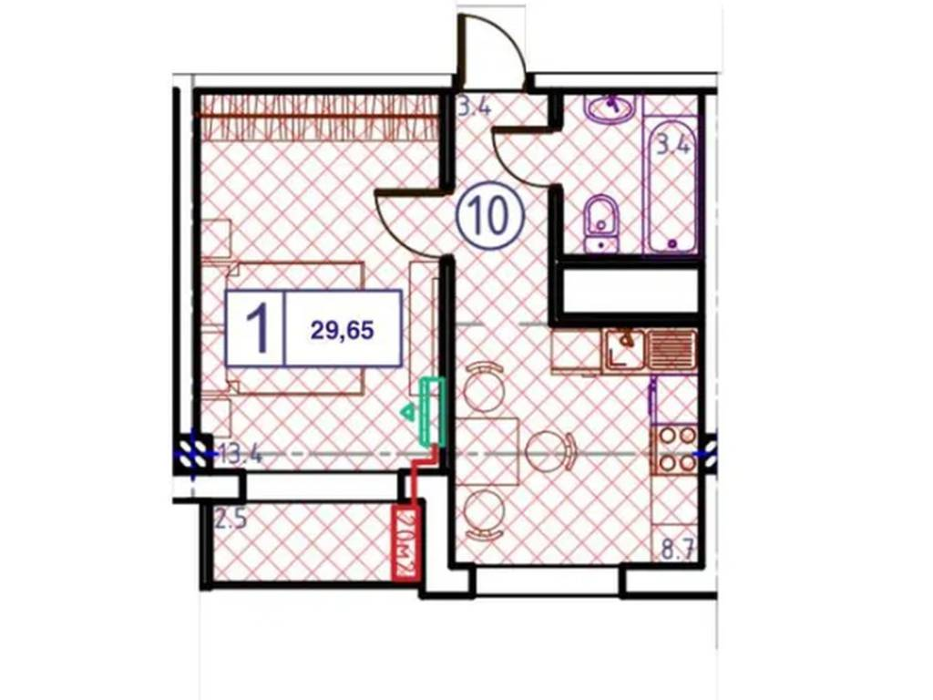1-комнатная квартира, 29.65 м2, 40650 у.е.