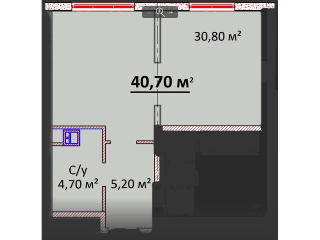 1-комнатная квартира, 40.60 м2, 39800 у.е.
