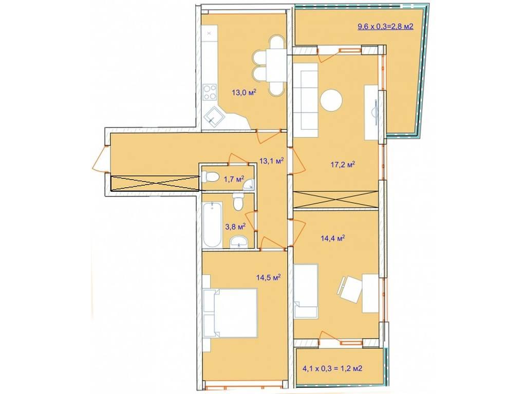 3-комнатная квартира, 81.30 м2, 69700 у.е.